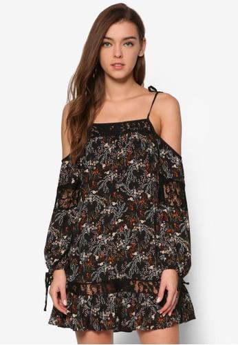 花卉印esprit 寢具花挖肩連身裙, 服飾, 洋裝
