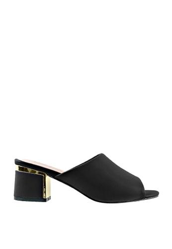 CO BLANC black and gold CO BLANC Metal Trim Block Heel Mules 5DE68SH33B3224GS_1