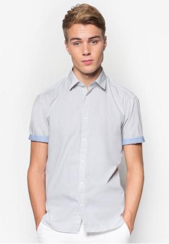 條紋反折短袖襯衫, 韓系時尚, esprit 高雄梳妝