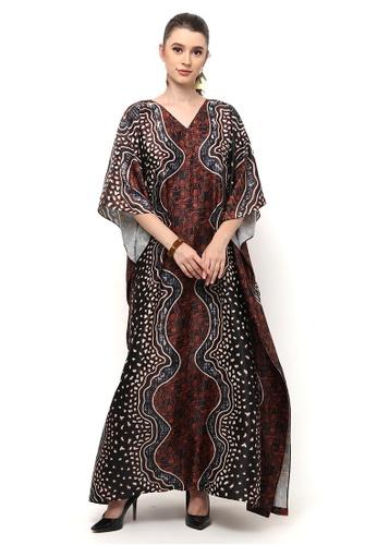 Kanzi by liza yahya brown Kanzi Exclusive Short Sleeve Batik Kaftan 98621AA8BE33A8GS_1