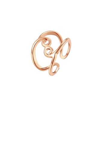 Glamorousky silver Fashion Simple Plated Rose Gold Geometric Lines Adjustable Open Ring 83F24ACFF4D17AGS_1
