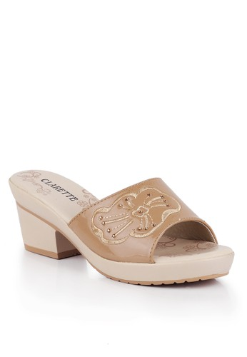 CLARETTE beige Clarette Sandal Heels Georgina Cream CL076SH04KZNID_1