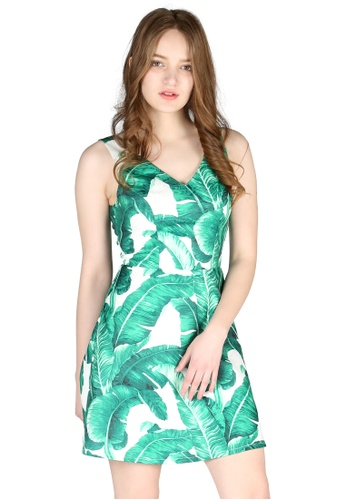 d863b36a6a0a56 London Rag green Green Leaf Print Sleeveless Mini Dress E9793AA2CEE5BEGS 1