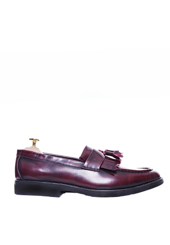 Zeve Shoes red Zeve Shoes Fringe Loafer - Red Polished Leather With Black EVA Sole 02261SHDE065A0GS_1