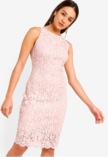 ZALORA pink Round Neck Sheath Lace Dress A5D42AA77756B8GS_1