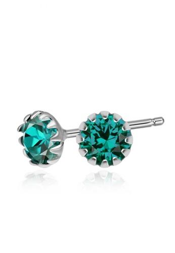 SC Tom Silver silver Crystal Round Birthstone Stud Earrings SC872AC0J6DLPH_1
