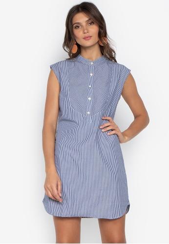 07bb17a755534b Folded   Hung blue Sleeveless Chambray Button Down Dress C8FF7AAC41EB2BGS 1