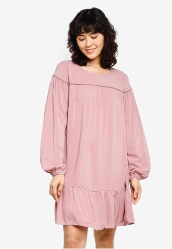 JACQUELINE DE YONG pink Riana Long Sleeve Short Dress E26D3AACB61C2BGS_1