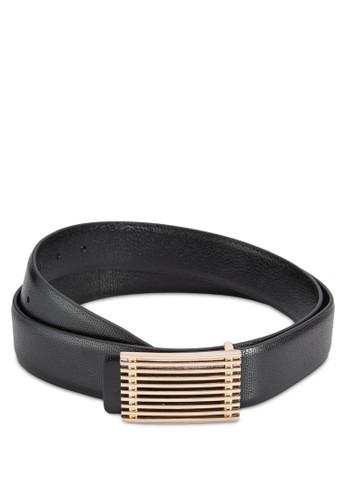 Gold Buesprit 澳門ckle Black Leather Belt, 飾品配件, 飾品配件