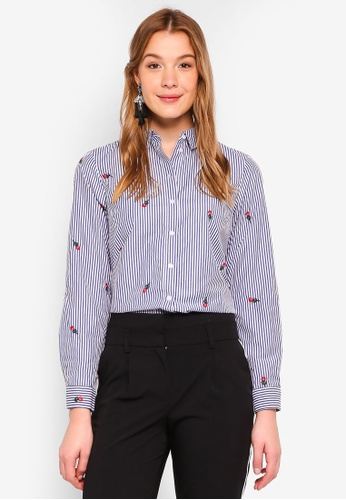 Dorothy Perkins navy Stripe Rose Embroidered Shirt F67E3AA72C41FFGS_1