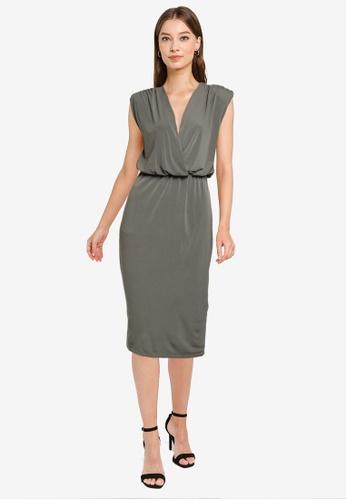 Goddiva green Wrap Style Bodycon Midi Dress 08374AA1E7CF37GS_1