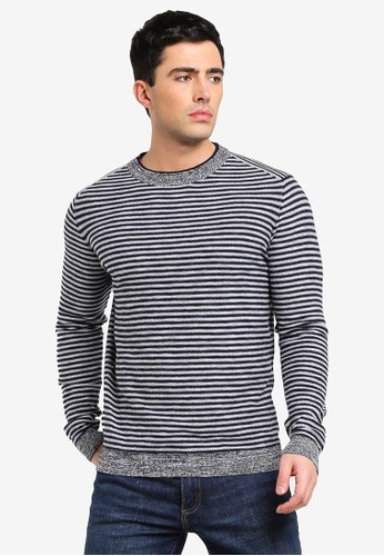 MANGO Man blue and navy Elbow-Patch Striped Cotton Sweater 2DF32AAC2A863FGS_1