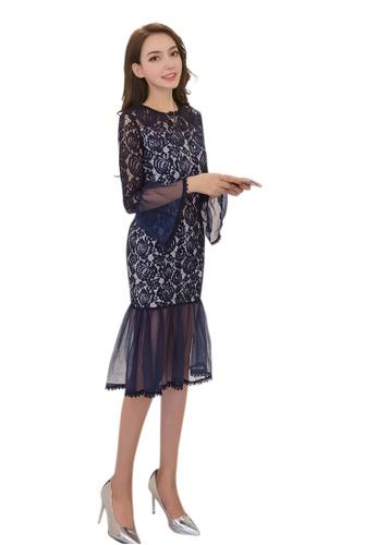 Sunnydaysweety blue New Blue Lace Floral Ruffle One Piece Dress UA120725BL SU219AA0GYTBSG_1
