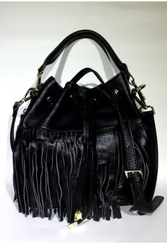 Girls Cow Leather Double Fringe Sling Bag