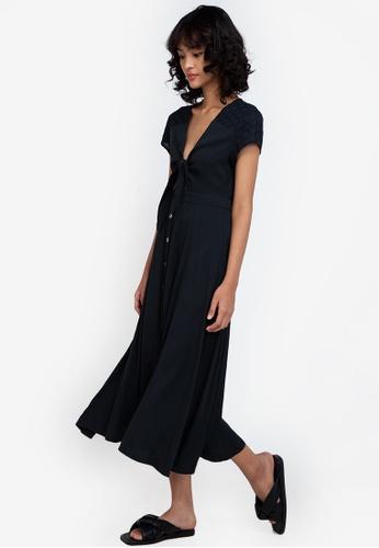 ZALORA BASICS black Broderie Detail Knot Front Midi Dress D6779AACE7D993GS_1
