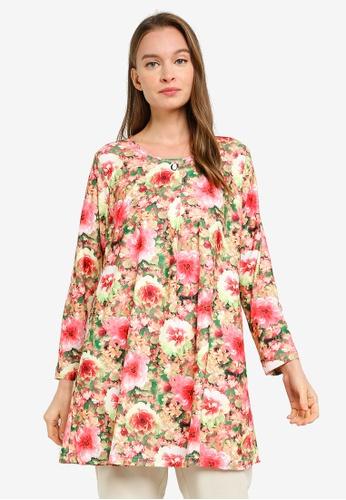 Aqeela Muslimah Wear pink Button Box Pleat Top 2249AAA8988EBAGS_1