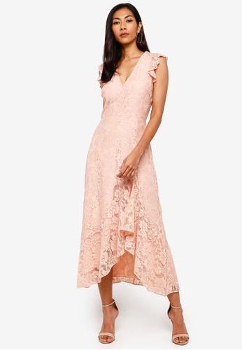 WAREHOUSE pink Lace Frill Midi Dress 68C32AA7972D4CGS_1