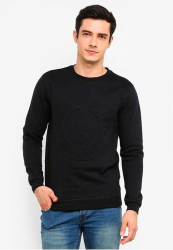 !Solid black Reynold Embossed Sweatshirt D0D3AAABB9013AGS_1