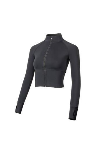 VIVIESTA SPORT black Quick Dry Turtleneck Cropped Jacket 8515BAA7E0E620GS_1