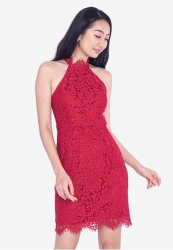 BEBEBEIGE red BebeBeige Halterneck Lace Slim Fit Mini Dinner Dress EF852AA5114712GS_1
