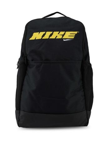 Nike black Brasilia Graphic Medium Backpack 44B1FAC53ED234GS_1