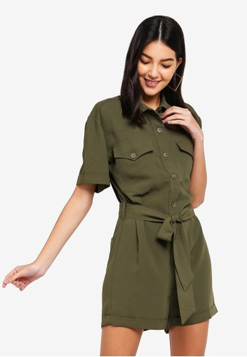ZALORA green Self Tie Playsuit 837DBAA6DD3D5CGS_1