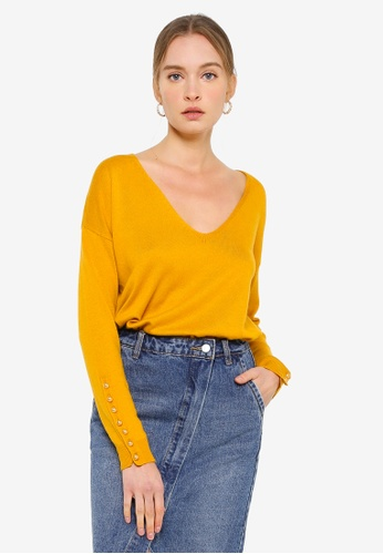 FORCAST yellow Haley V-Neck Button-Cuff Pullover 25563AA95EB9CEGS_1