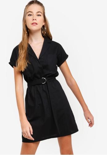 Something Borrowed black Self Tie Lapel Mini Dress 9E59BAA4919D3BGS_1