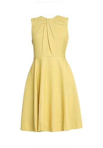 Saturday Club yellow Sleeveless Dress With Gathered Front 15CE8AA8F3138EGS_1