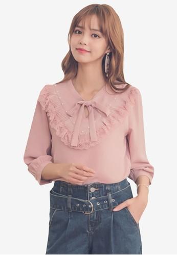 Yoco pink and multi Chiffon Tie Peasant Blouse 92822AA36C8B64GS_1