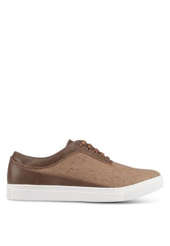 JAXON brown Mixed Materials Linen Sneakers AAC4FSH9398779GS_1