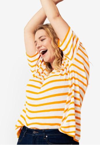 Violeta by MANGO yellow Plus Size Striped Jersey T-Shirt 15C87AADC85439GS_1