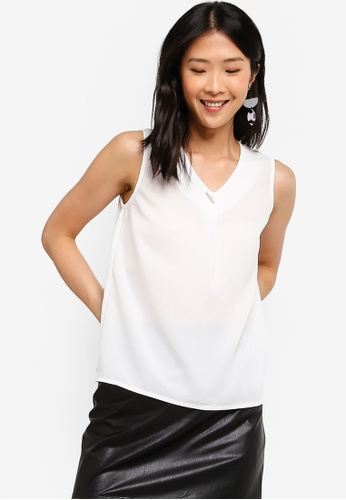 ZALORA BASICS white Basic Bar Details V-Neck Top 74F76AA53164F0GS_1