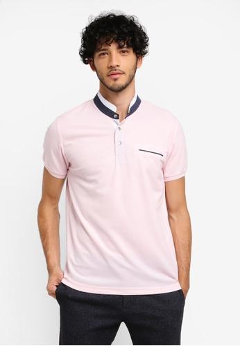 JAXON pink Grandad Collar Polo 05BC3AAF937584GS_1