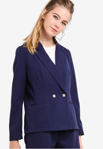 Something Borrowed navy Double Breasted Fitted Blazer 179A6AAD03F59FGS_1