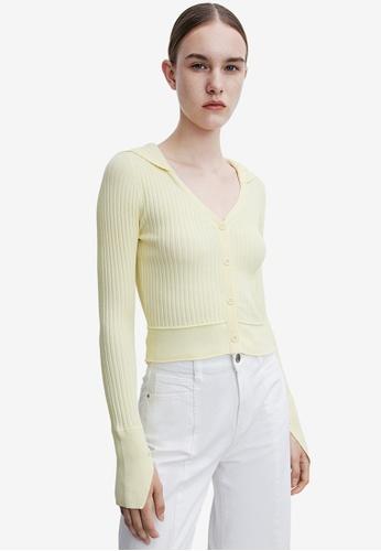 URBAN REVIVO yellow Casual Crop Top 1687EAA3871FC3GS_1