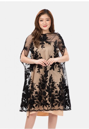 The Pink Label black Lace Batwing Dress with Sateen Inner in Black 82412AA351B267GS_1