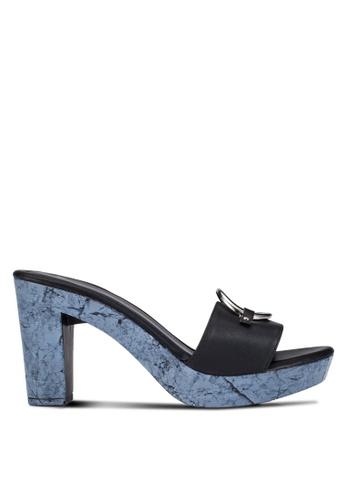 DMK black Slip On Platform Heeled Sandals DM860SH0RG26MY_1