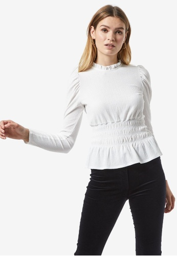 Dorothy Perkins white White Textured Top C427FAAD13DB7CGS_1