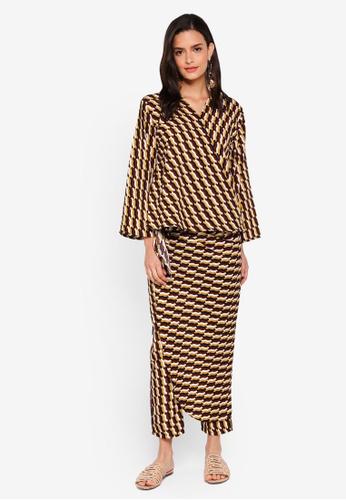 Lubna yellow and brown Kimono Wrap Co-ords C795BAA47BA4E7GS_1