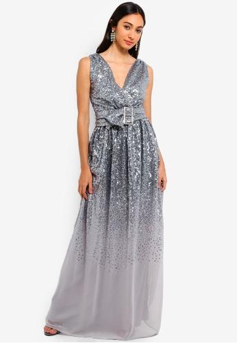 c8541468d Goddiva silver Sequin And Chiffon Wrap Maxi Dress 2E4A7AA72F2AF0GS_1