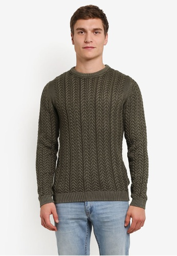 Only & Sons green Only & Sons Hugo Washed Knit Jumper ON662AA0S49FMY_1