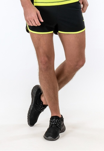 "AMNIG black Amnig Men Aery 2"" Running Shorts (Black/safety Yellow) AM133AA23DYEMY_1"