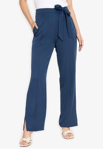 ZALORA WORK blue Side Tie Straight Leg Pants 8F54AAAAE55FDAGS_1