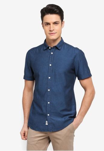 ESPRIT blue Woven Short Sleeve Shirt ED78DAA0A06186GS_1