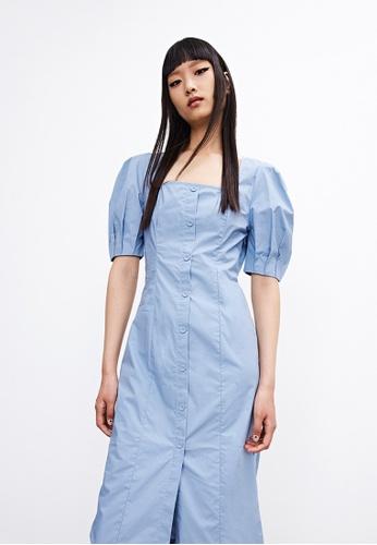 Urban Revivo blue Cotton Dress C608EAAA6B1445GS_1