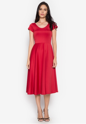 Gene M. Gozum red Scoop Neck Crisscross Low Back Tea Dress GE062AA0KHVHPH_1