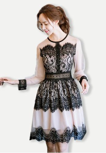 Sunnydaysweety beige 2017 See Through Lace Long Sleeves Flare One Piece Dress UA101901 SU219AA0GHA4SG_1