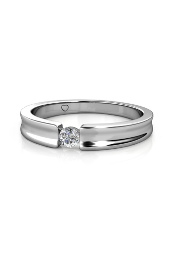 Her Jewellery silver Simplicity Ring (White Gold) - Made with premium grade crystals from Austria DD654AC54B0247GS_1