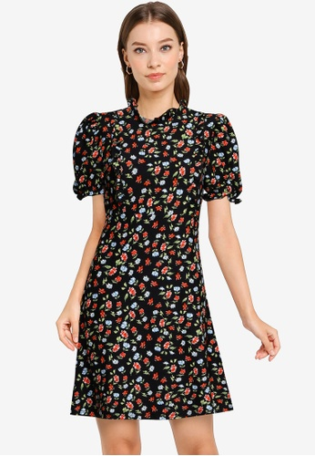 Miss Selfridge red Red High Neck Frill Tea Dress A4D76AAD6744D7GS_1
